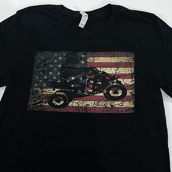 American Flag 4wheeler ATV shirt sleeve tshirt
